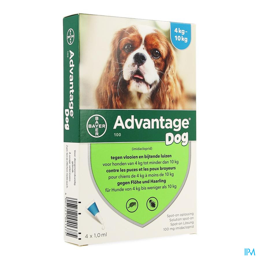 Advantage 100 Chiens 4<10kg 4x1,0ml