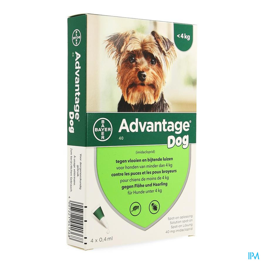 Advantage 40 Chiens <4kg 4x0,4ml