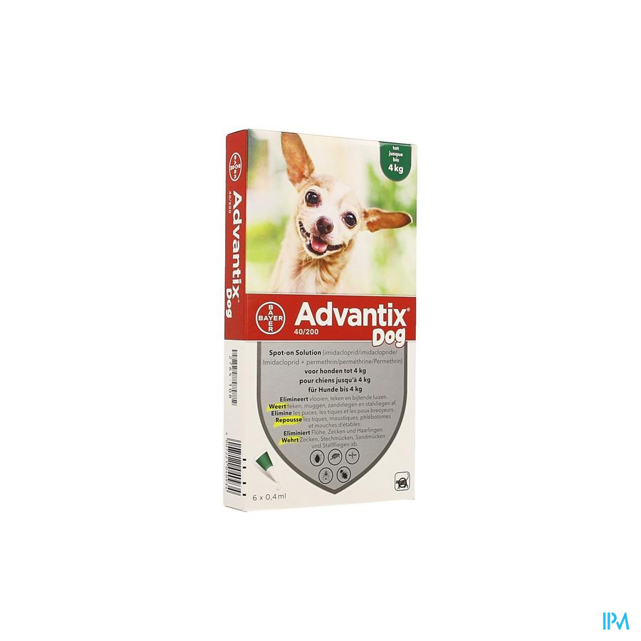 Advantix 40/ 200 Chiens < 4kg Fl 6x0,4ml