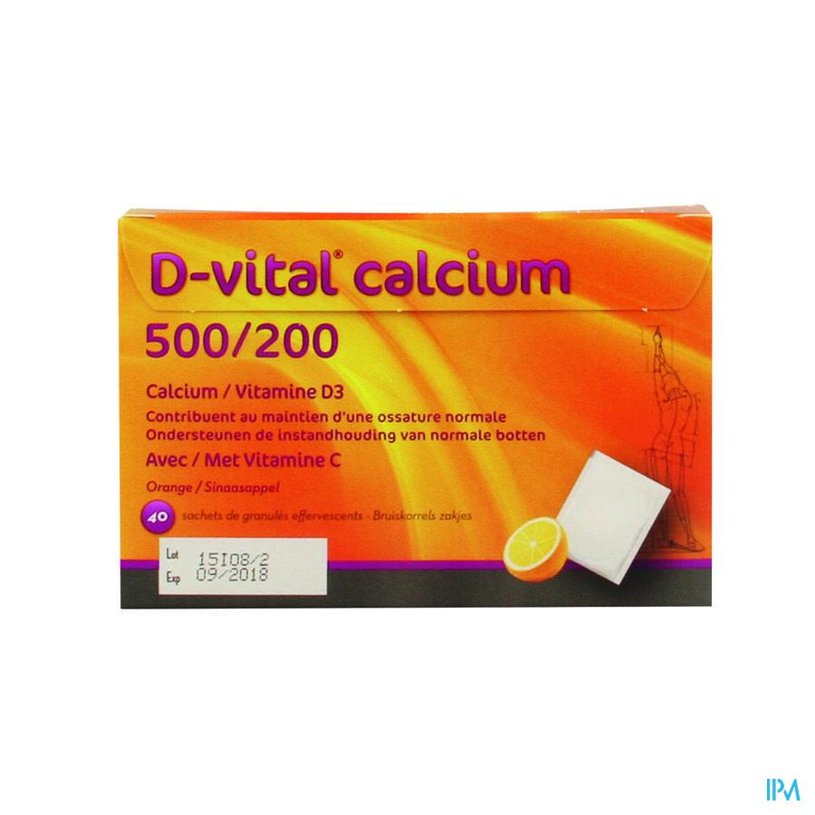 D Vital Calcium 500/200 Orange Sachet 40