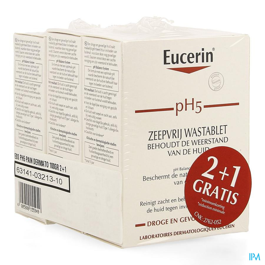 Eucerin Ph5 Pain Dermato S/savon 100g 2+1 Gratuit