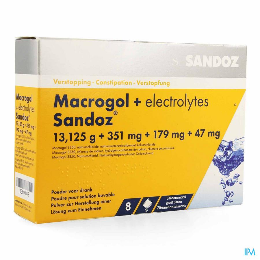 Macrogol + Electr Sandoz Pulv Gout Citron Sach 8