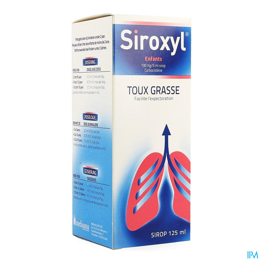 Siroxyl Sirop Enfants/kinderen 125ml 100mg/5ml